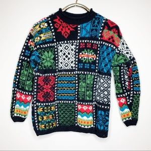 Vintage GAP Knit by Hand Patchwork Wool Sweater